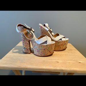 Jeffrey Campbell snakeskin cork sandal 7.5